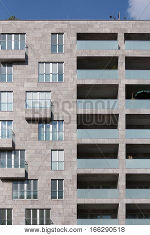 Detail of a contemporary high rise apartment block in central Berlin Germany.