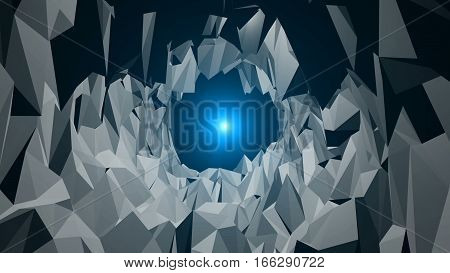 low poly tunnel with a light at the end. Polygons Waves. Background animation. Abstract 3d rendered background.
