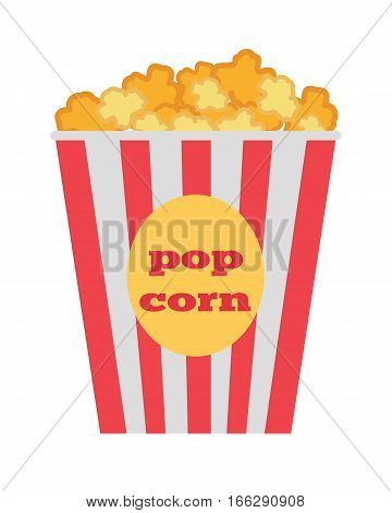 Popcorn box vector icon. Popcorn in flat style design. Traditional salty, sweet snack. Popcorn cinema illustration. Red box popcorn opened. Popcorn logo, popcorn cinema, popcorn box, popcorn pack.