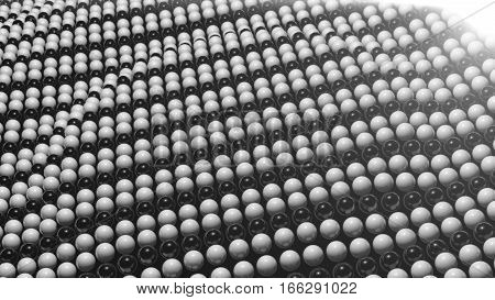 Abstract background with surface black and white sphere. 3D rendered.