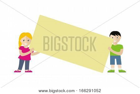 Poster template with empty paper sheet. Smiling blonde girl and brunet boy holding blank board flat vector illustration isolated on white background. For advertising, presentation, announcement design