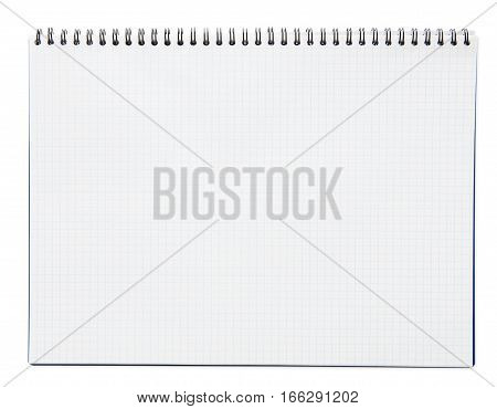 Blank spiral notepad or notebook with checkered paper isolated on white background
