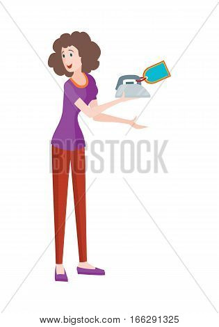 Discounts in electronics store concept. Smiling woman standing with iron bought on big sale flat vector illustration on white background. Shopping on home appliances sellout. For shop promotions ad