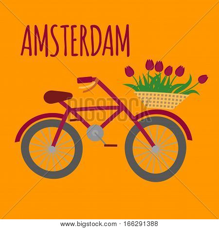 Amsterdam city flat art. Travel landmark, Netherlands bicycle, Holland bike and flowers,