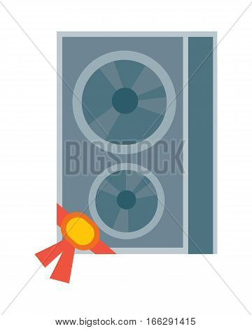 Sound column icon with label on ribbon. Electronics for listening music flat vector illustration isolated on white background. Best choice, best price, bestseller signs. For store sale and discount