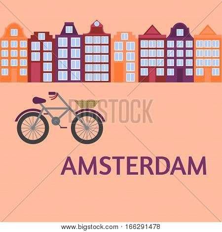 Amsterdam city flat art. Travel landmark, architecture of netherlands, Holland houses, european building isolated set, bicycle
