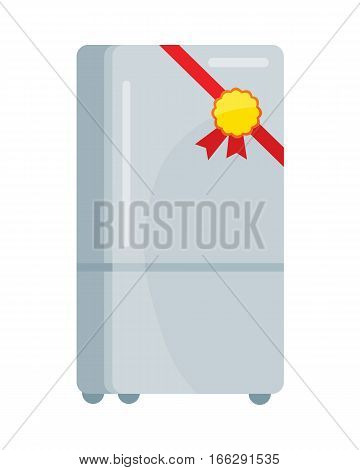 Refrigerator icon with label on ribbon. Traditional home appliance for NAME flat vector illustration isolated on white background. Best choice, best price, bestseller signs. For store sale and discount promo