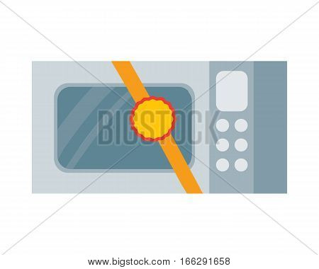 Microwave icon with label on ribbon. Home appliance for cooking flat vector illustration isolated on white background. Best choice, best price, bestseller signs. For store sale and discount promo