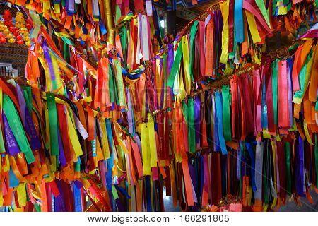 PENANG MALAYSIA- 29 DECEMBER 2016: Wish ribbons in chinese buddhist Kek lok Si temple in Penang Malaysia.