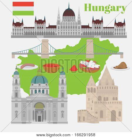 Hungarian City sights in Budapest. Hungary Landmark Global Travel And Journey Architecture Elements Buda castle Chain Bridge. Budapest parliament Fisherman's bastion St. Istvan basilica. Traditional food goulash langos