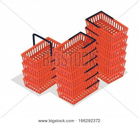 Set of shopping carts isolated on white. Trolley or buggy cart supplied by shop for transport of merchandise to the checkout counter during shopping. Red plastic shopping basket icon. Vector