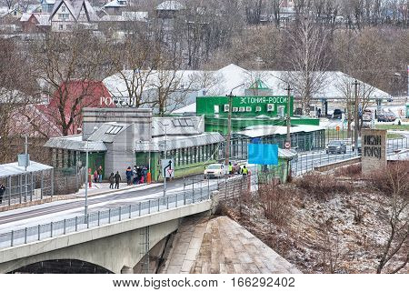 IVANGOROD, RUSSIA - JANUARY 2, 2017: Bridge of Friendship. Crossing point for pedestrians on the border of Russia (Ivangorod) and Estonia (Narva). View for Russian territory