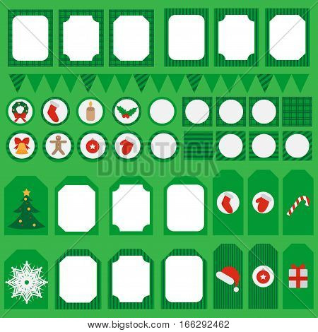 Printable set of Christmas and New Year party elements. Templates, labels, icons and wraps with Gift, holly, jingle bells, cookie, Xmas tree ball, mittens, fir tree and candycane. Design elements.