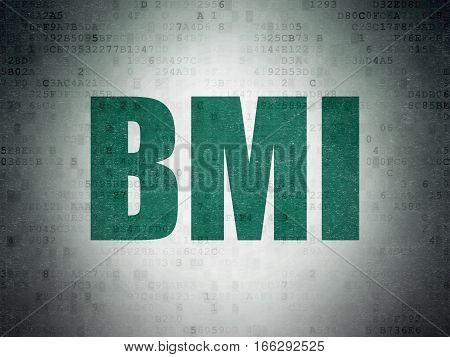 Health concept: Painted green word BMI on Digital Data Paper background
