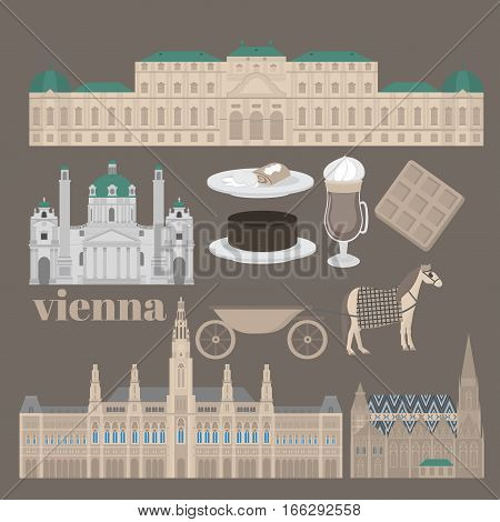 Austrian City sights in Vienna. Austria Landmark Travel And Journey Architecture Elements Stephansdom Karlskirche Belvedere palace and Town hall