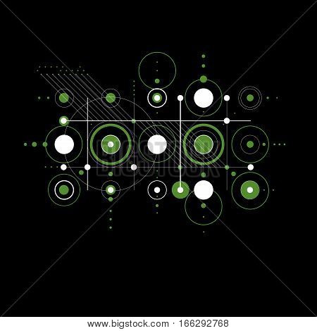 Bauhaus retro art vector green background made using grid and circles. Geometric graphic 1960s illustration can be used as booklet cover design.