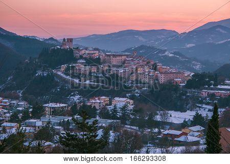 Nocera Umbra under winter romantic sunset, Umbria