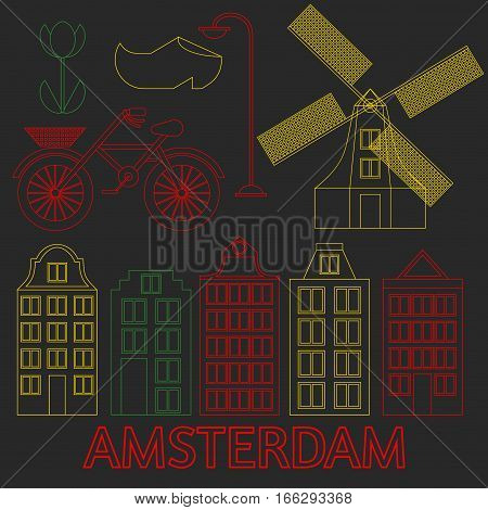 Amsterdam city flat line art. Travel landmark architecture of netherlands Holland houses european building isolated set nightlife neon light.