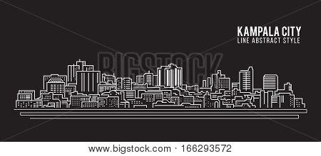 Cityscape Building Line art Vector Illustration design - Kampala city