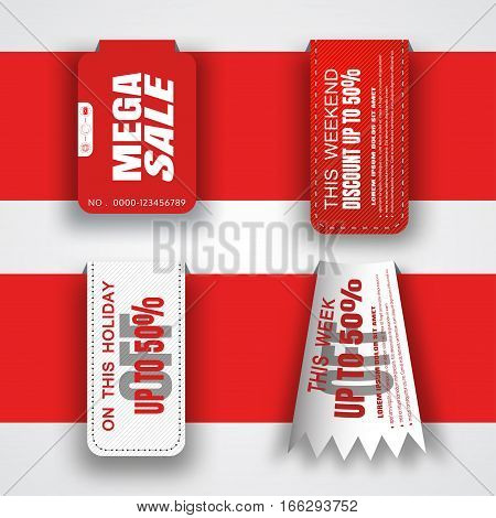 Vector set of holiday red and white sale banners different shape put on the red paper stripe.