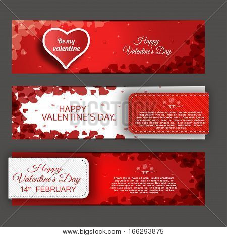 Vector banners of the Happy Valentine's Day on the red and white background with heart stripes and abstract pattern.