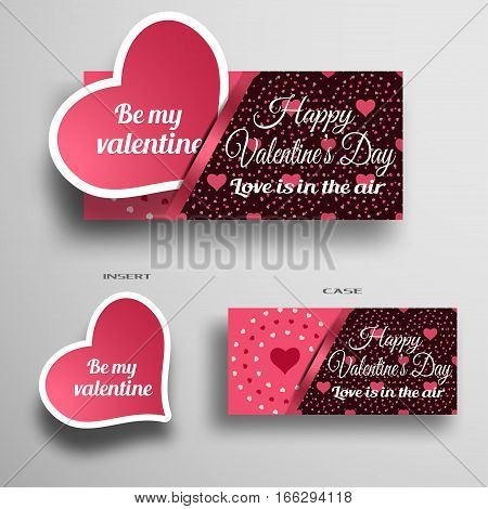 Vector set of greeting card insert in case with dark pattern from hearts and stripe on the gray background.