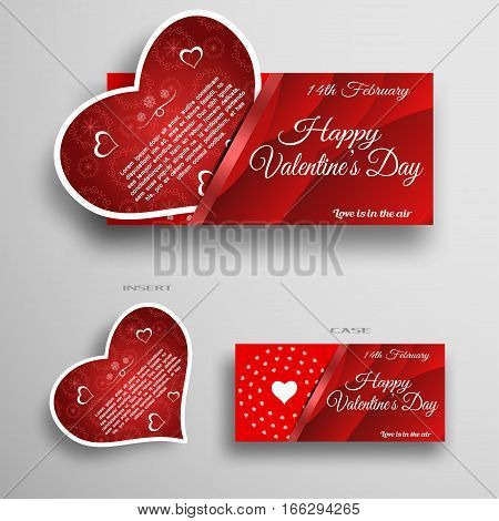Vector set of greeting card insert in case with red wave pattern and stripe on the gray background.