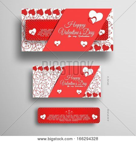Vector set of greeting card for Valentine's Day with insert and red pattern on the gray background.