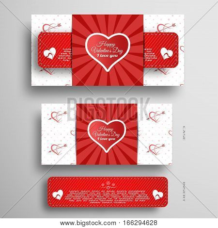 Vector set of greeting card for Valentine's Day with insert stripe and red pattern on the gray background.