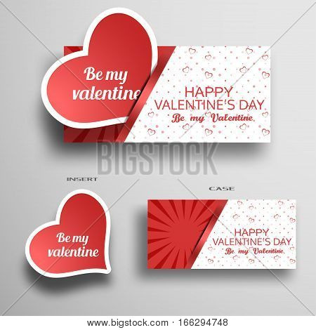 Vector set of greeting card for Valentine's Day insert in case with light pattern from hearts and stripe on the gray background.