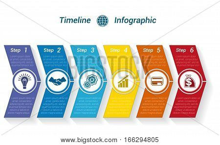 Template Timeline Infographic from colour arrows numbered for 6 position can be used for workflow banner diagram web design area chart
