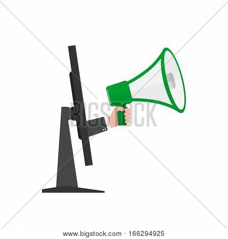 Loudspeaker or megaphone in the male hand coming out from screen of monitor. Green megaphone and monitor isolated on white background. Vector illustration.
