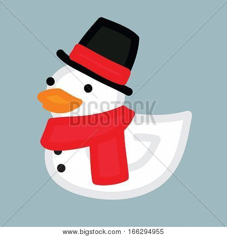 Funny yellow duck like snowman with hat and red scarf christmas character
