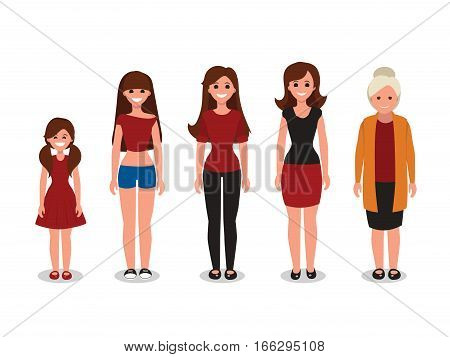 Female various ages hand drawn cartoon vector illustration. Flat style. Isolated on white background