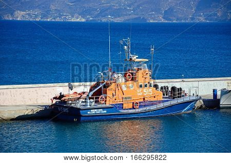 AGIOS NIKOLAOS, CRETE - SEPTEMBER 17, 2016 - Hellenic coastguard boat moored in the harbour Agios Nikolaos Crete Greece Europe, September 17, 2016.