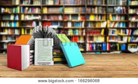 E-book Reader Books And Tablet Library Background 3D Illustration Success Knowlage Concept