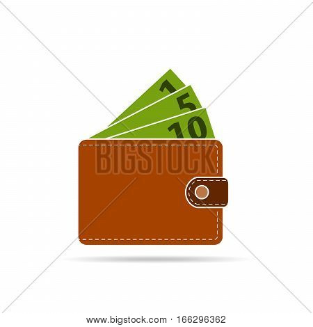 Brown wallet with green paper money isolated on white background. Wallet in flat design. Vector illustration.