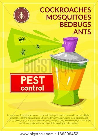 Pest control concept design poster, the chemical agent in aerosol and insects vector illustration