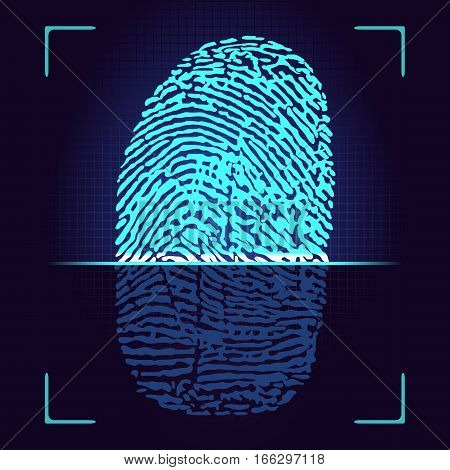Fingerprint scanner. Vector fingerprint logo.
