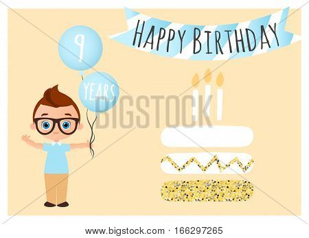 Happy birthday postcard. Happy Birthday background for poster banner card invitation flyer. Young Boy holds balls with congratulations. Vector illustration eps 10. Flat cartoon style