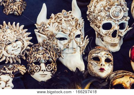 Close up picture of traditional decorated carnival masks in Venice Italy