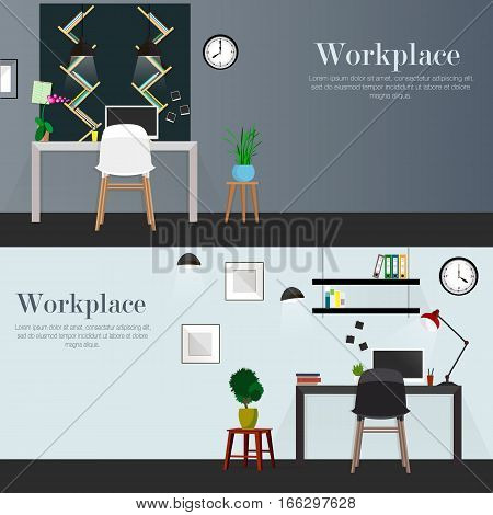 Workplace in office. Workplace with desk, shelves, electronics, books. Designer workplace office worker.