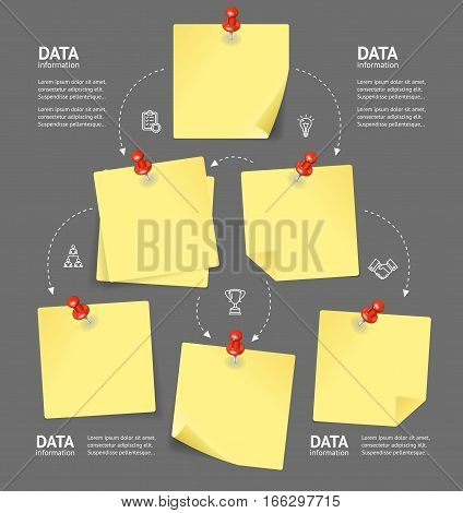 Business Plan with Empty Blank Note and Red Pushpins Scheme Layout Project or Program. Vector illustration