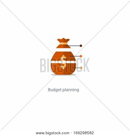 Investment diversification, financial strategy solution, budget fund cut plan icon, share hold, compound interest, divide money, vector illustration