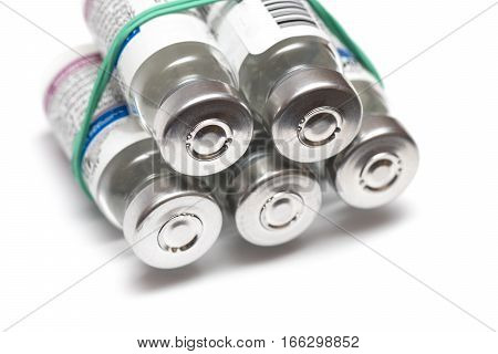 Vials With A Medicine On A White