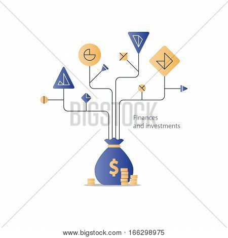 Financial education system, stock market index fund investment strategy, business solution concept, budget fund plan, income diversification, start up money, expenses account, vector illustration