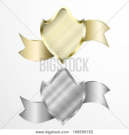 Silver and gold shields and ribbon ( glow, shine )