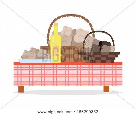 Fresh harvest of truffles concept. Wicker baskets and plate full of white and black truffle mushrooms, bottle of  olive oil standing on table covered checkered tablecloth flat vector isolated on white