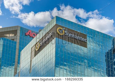 SYDNEY AUSTRALIA - OCTOBER 13 2016: Symantic Corporation building in Kent Street Sydney Australia.