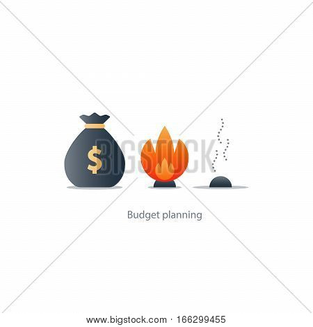Burning money, excessive spending, waste budget, financial planning, payoff debt, risk investment, inflation concept vector illustration icons